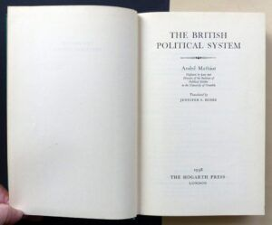 MATHIOT, André - The British Political System